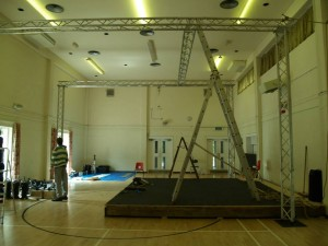 Lighting truss in place